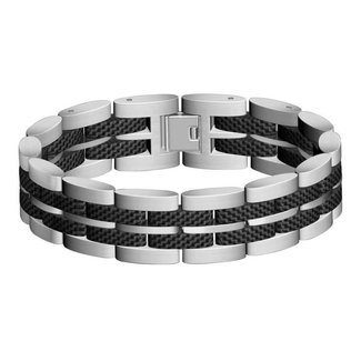 Huiscollectie Edelstaal / Carbon armband 50468 21cm