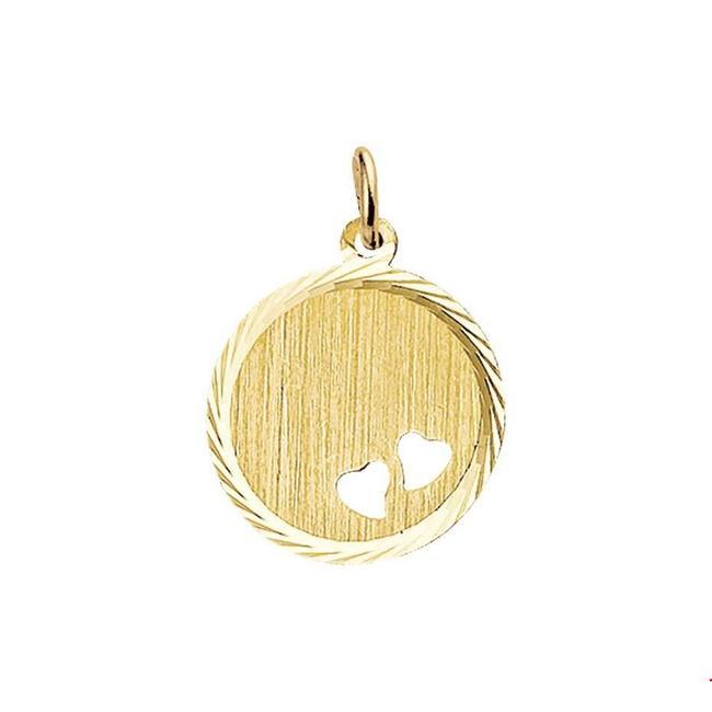 Huiscollectie Gouden Graveerhanger hartjes 4018357 16 mm