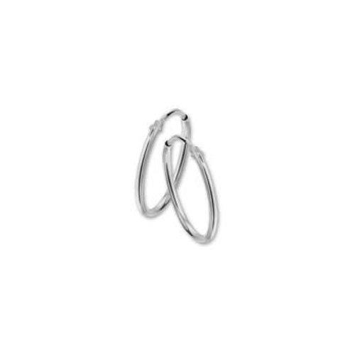 Witgouden oorsieraden ronde buis 4104296 17mm