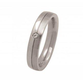 Van Dam Juwelier Edelstalen Ring met Briljant 50159/1-54 Maat 54