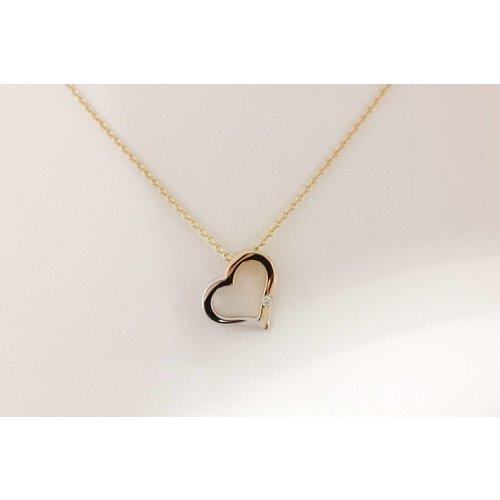 Huiscollectie Gouden ketting hart met diamant 416794081