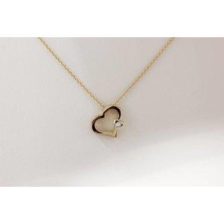 Huiscollectie Gouden Ketting Hart Met Diamant 45cm