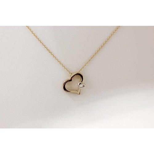 Gouden ketting hart met diamant 416794071 45cm