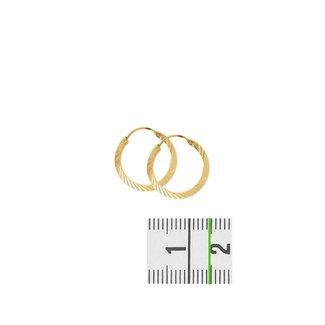 Huiscollectie Gouden oorsieraden vierkante buis 4001390 14mm