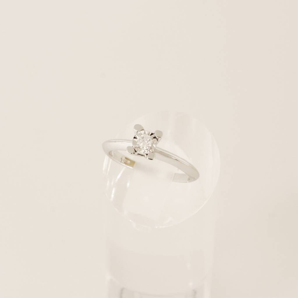 Huiscollectie Witgouden aanzoeksring 18krt solitair ring