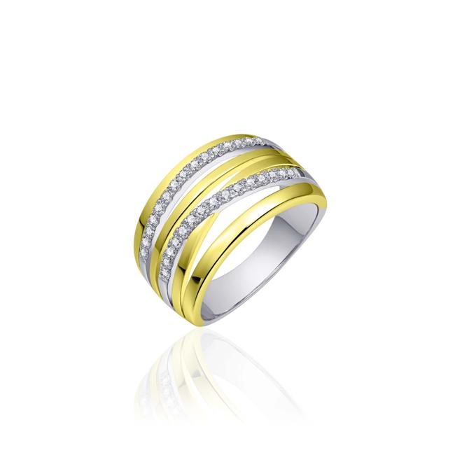 Huiscollectie Zilveren Ring Goud Verguld met Zirconia   E055Y