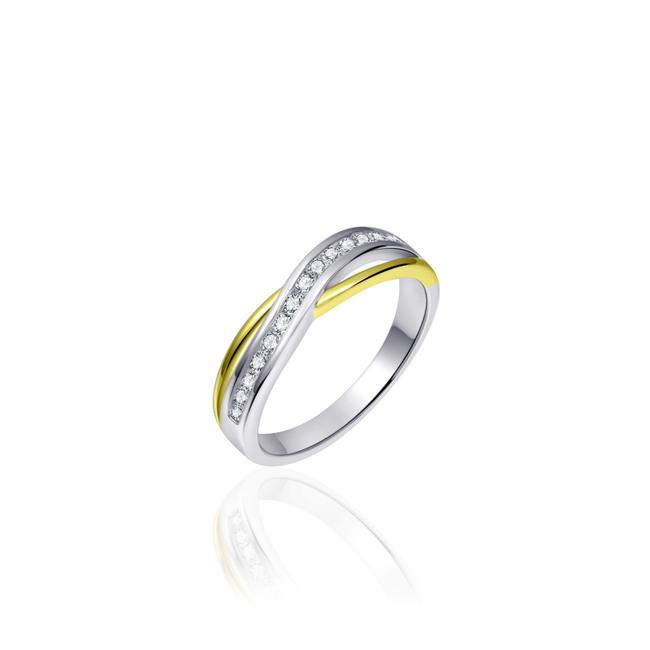 Huiscollectie Zilveren Ring Goud Verguld   R101Y   mt 56
