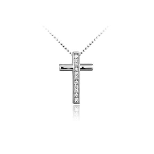 Huiscollectie Zilveren Hanger Kruis met Zirconia | P075