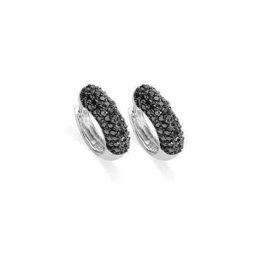 Huiscollectie Zilveren Creolen met Zwarte Zirconia E701B2
