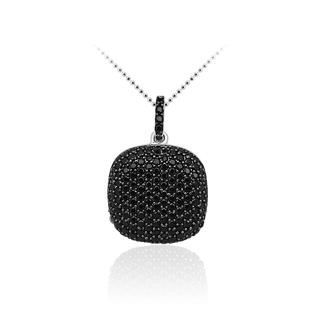 Huiscollectie Zilveren Hanger met Zwarte Zirconia | P093Z