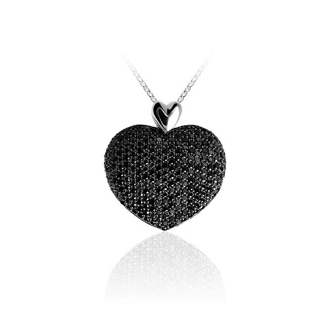 Huiscollectie Zilveren Hart Hanger met Zwarte Zirconia | P629Z