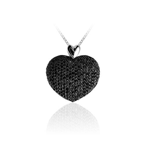 Zilveren Hart Hanger met Zwarte Zirconia   P629Z