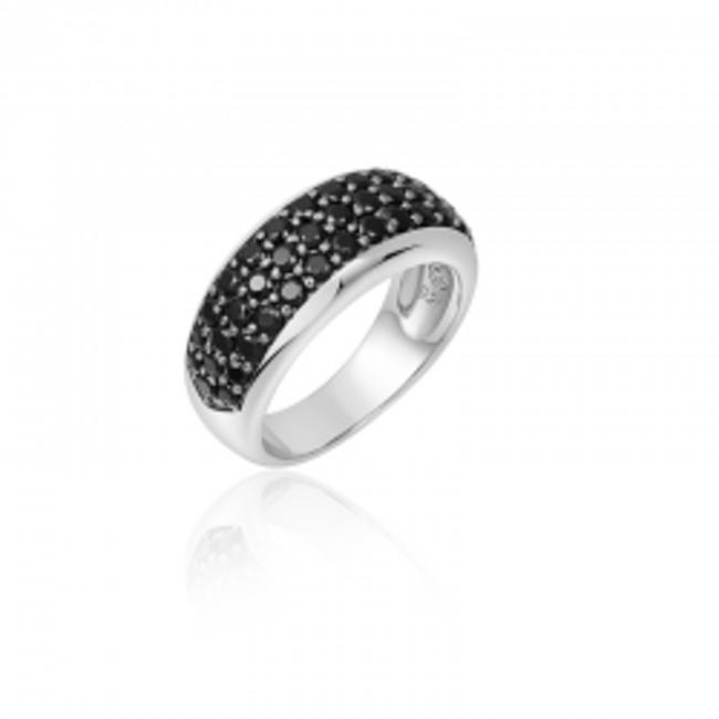 Huiscollectie Zilveren Ring met Zwarte Zirconia | R256Z | mt 56