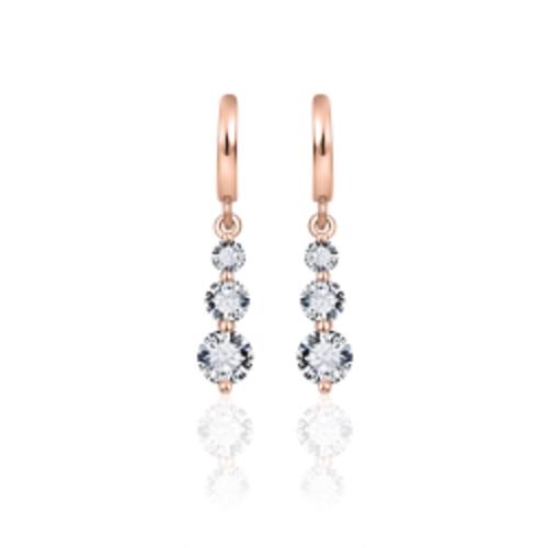 Zilveren Oorhangers Rosé Verguld | E718R