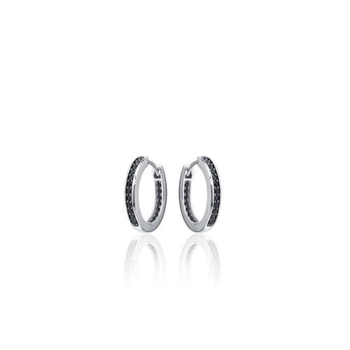 Zilveren Creolen met Zwarte Zirconia | KCE3/20Z