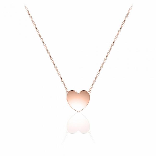 Huiscollectie Zilver rose verguld collier hart | N1030R