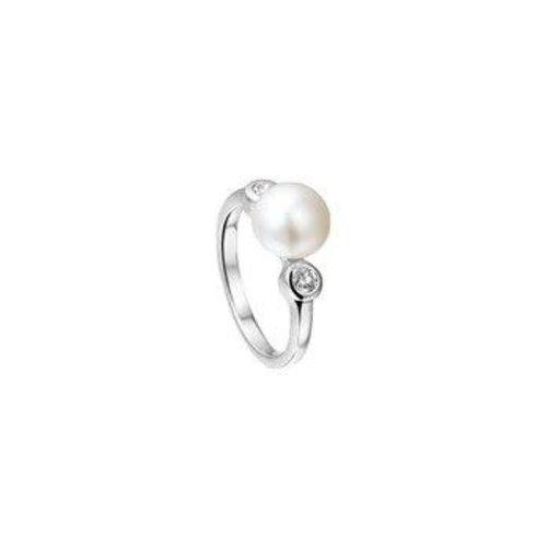 Huiscollectie vDam Zilveren Ring met Parel en Zirkonia