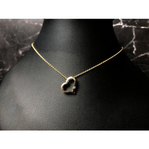 Huiscollectie Gouden ketting met hart hanger briljant 416794001 45cm