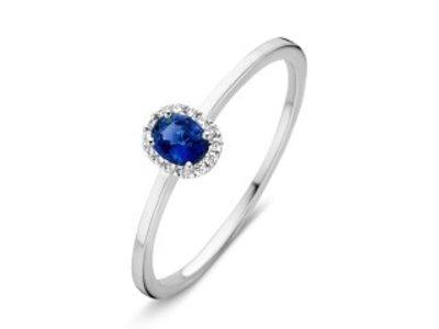 Huiscollectie Ring witgoud briljant+saffier RP216391-54