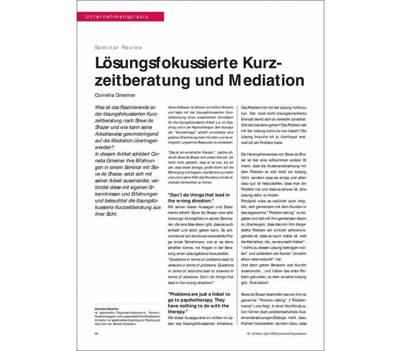 Lösungsfokussierte Kurzzeitberatung und Mediation