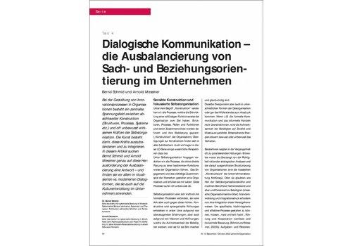 Dialogische Kommunikation – die Ausbalancierung von Sach- und Beziehungsorientierung im Unternehmen