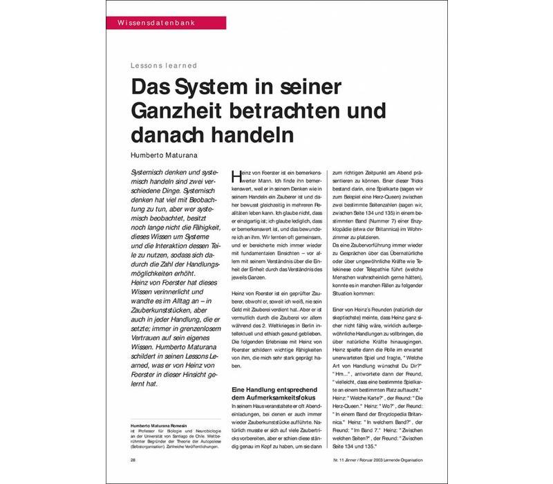 Das System in seiner Ganzheit betrachten und danach handeln