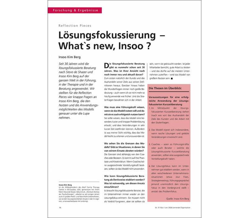Lösungsfokussierung – What`s new, Insoo ?