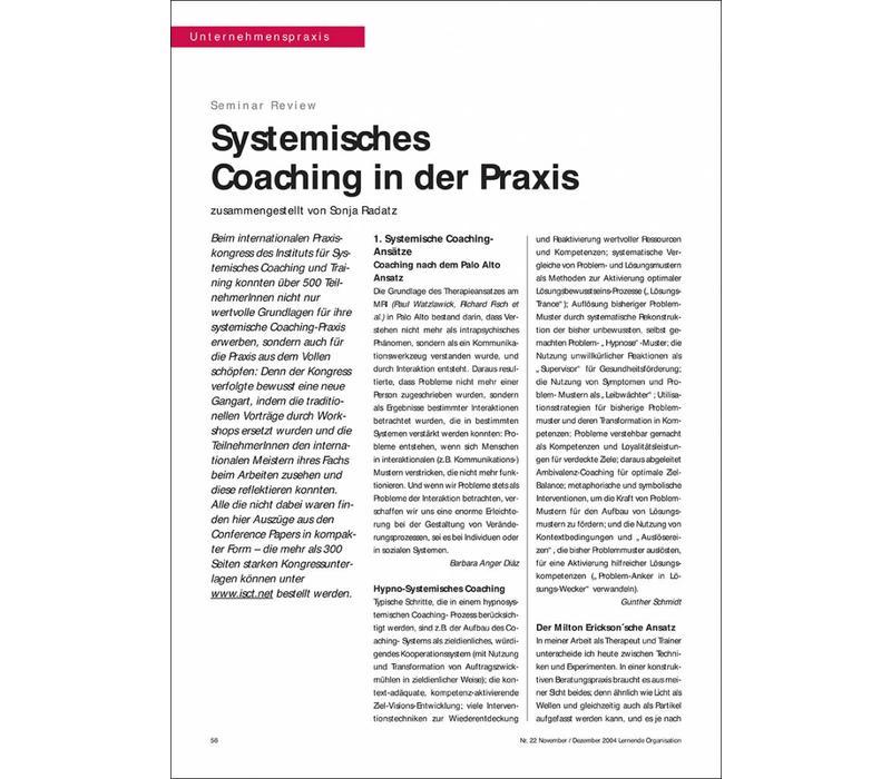 Systemisches Coaching in der Praxis