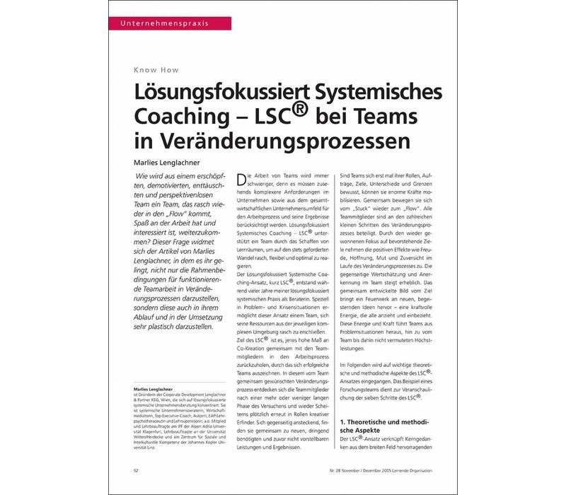 Lösungsfokussiert Systemisches Coaching – LSC® bei Teams in Veränderungsprozessen