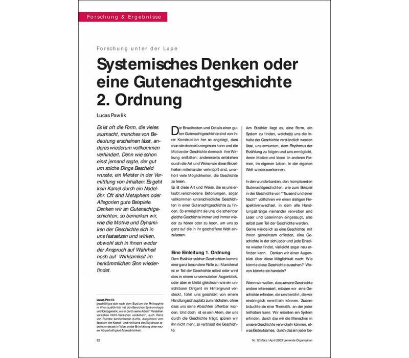 Systemisches Denken oder eine Gutenachtgeschichte 2. Ordnung