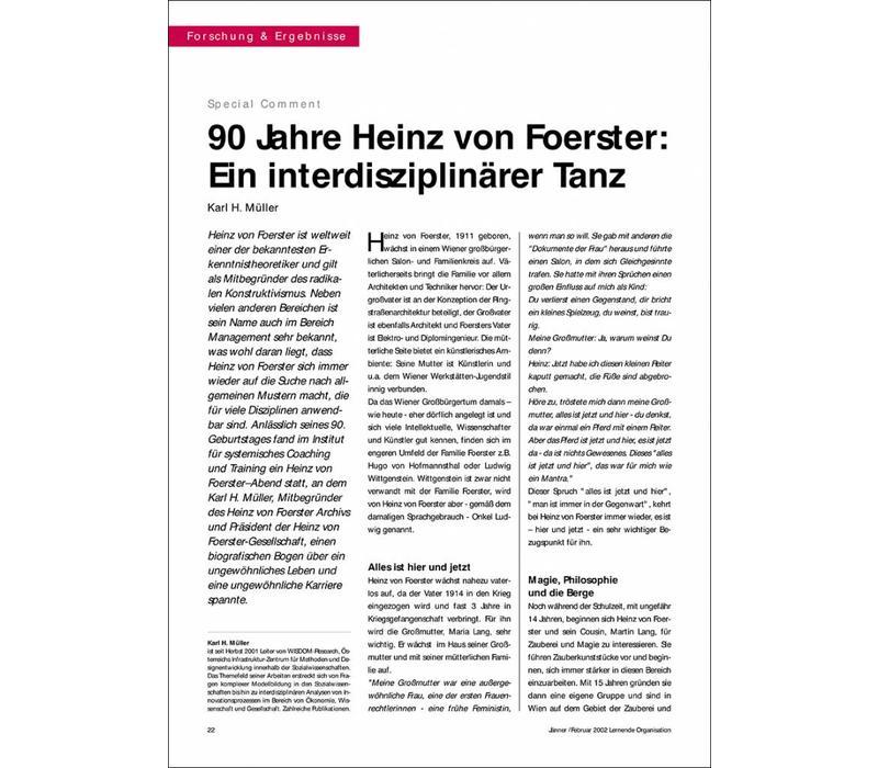 90 Jahre Heinz von Foerster: Ein interdisziplinärer Tanz