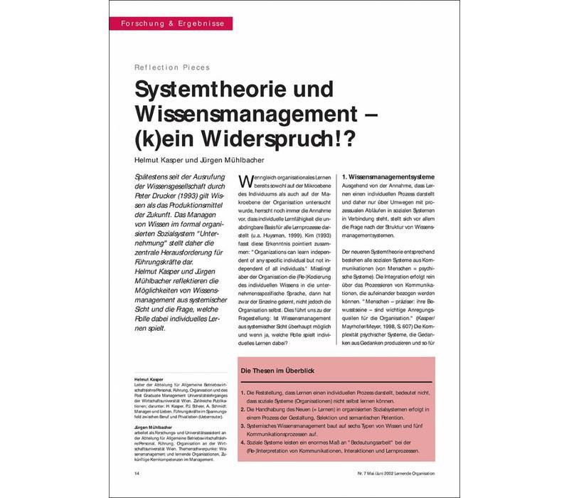 Systemtheorie und Wissensmanagement – (k)ein Widerspruch!?