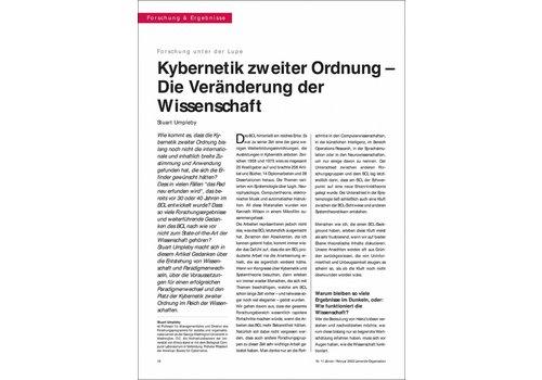 Kybernetik zweiter Ordnung – Die Veränderung der Wissenschaft