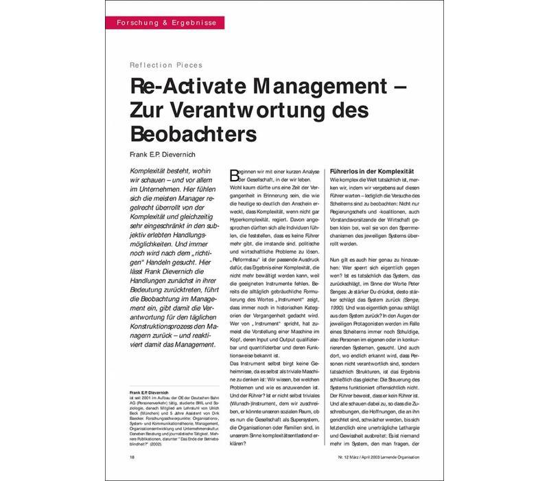 Re-Activate Management – Zur Verantwortung des Beobachters