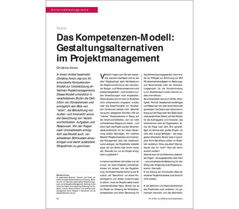 Das Kompetenzen-Modell: Gestaltungsalternativen im Projektmanagement