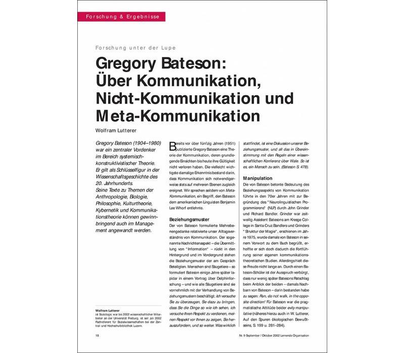 Gregory Bateson: Über Kommunikation, Nicht-Kommunikation und Meta-Kommunikation