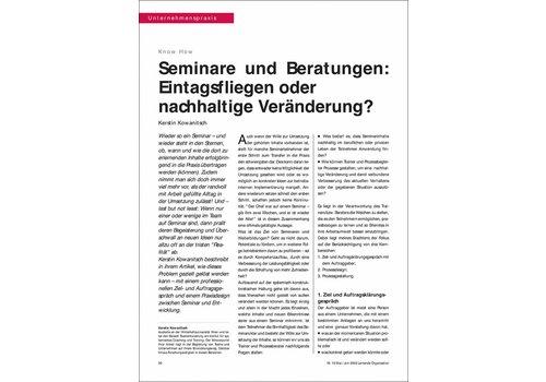 Seminare und Beratungen: Eintagsfliegen oder nachhaltige Veränderung?