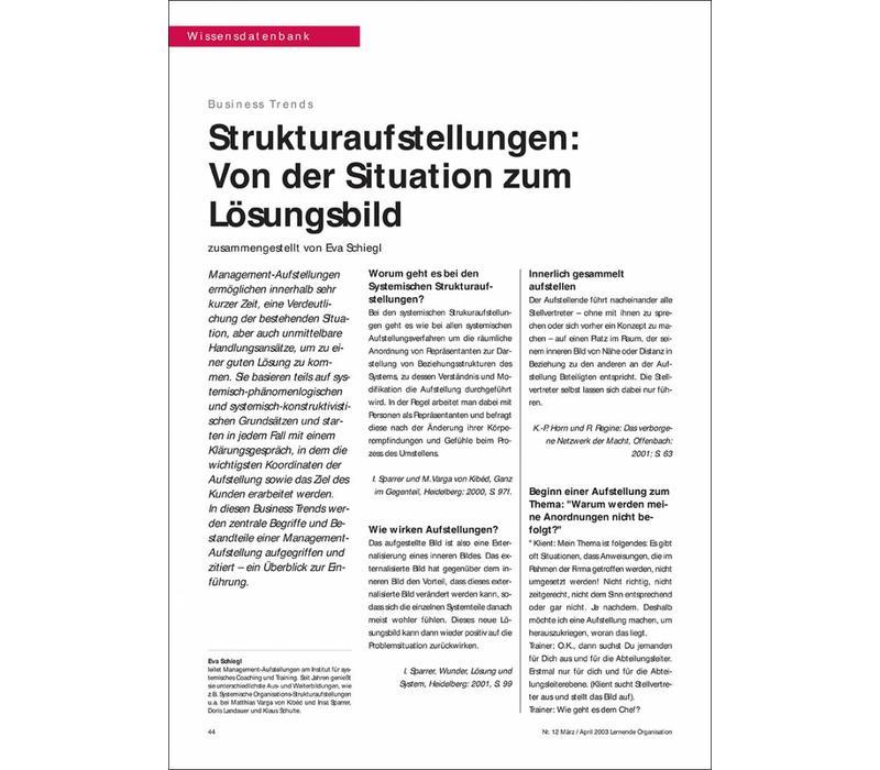 Strukturaufstellungen: von der Situation zum Lösungsbild