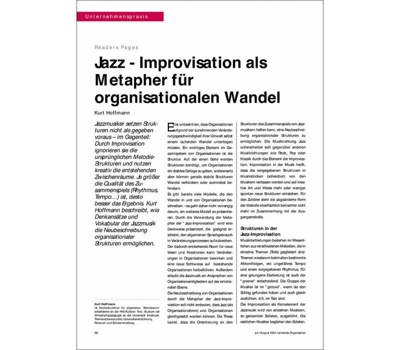 Jazz - Improvisation als Metapher für organisationalen Wandel