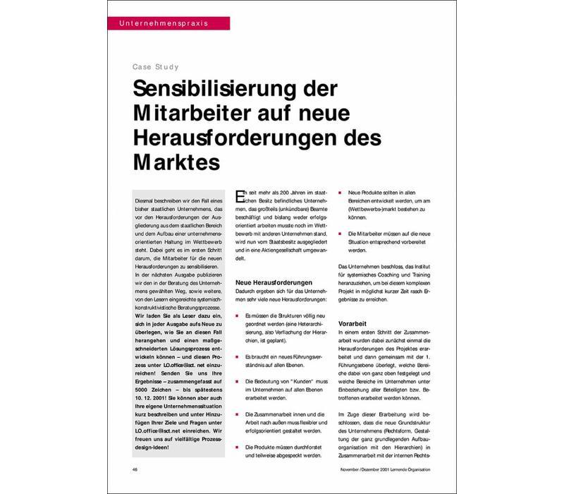Sensibilisierung der Mitarbeiter auf neue Herausforderungen des Marktes