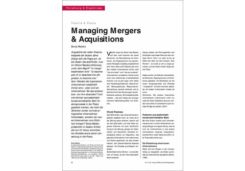 Managing Mergers & Acquisitions