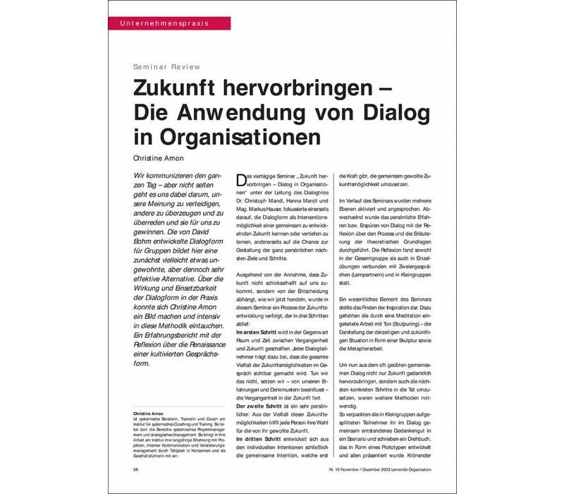 Zukunft hervorbringen – Die Anwendung von Dialog in Organisationen