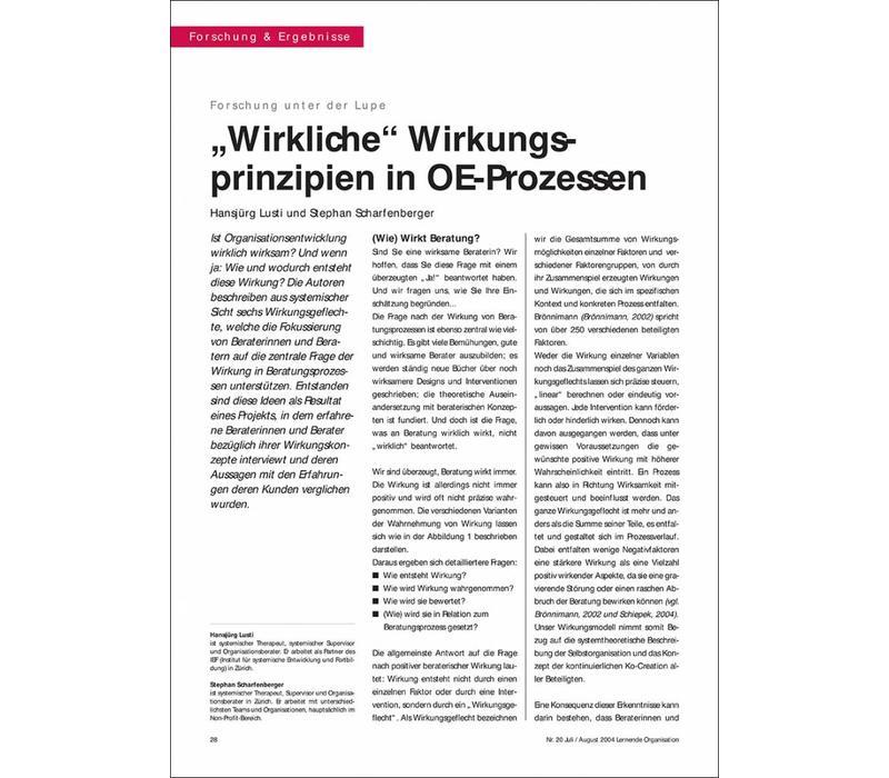 """""""Wirkliche"""" Wirkungsprinzipien in OE-Prozessen"""
