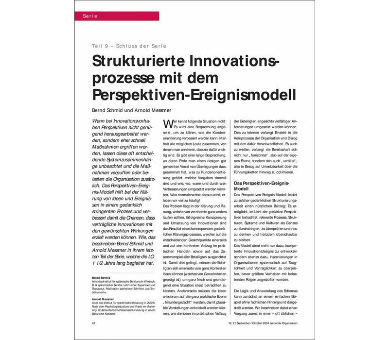 Strukturierte Innovationsprozesse mit dem Perspektiven-Ereignismodell