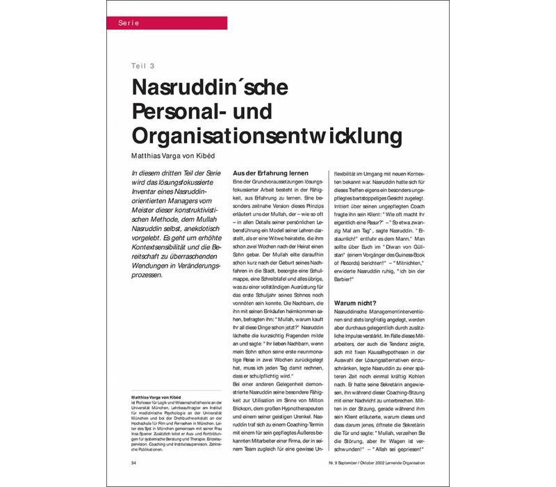 Nasruddin´sche Personal- und Organisationsentwicklung