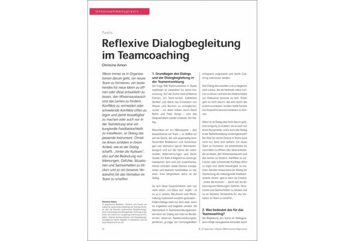 Reflexive Dialogbegleitung im Teamcoaching