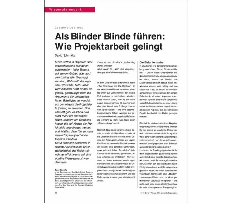 Als Blinder Blinde führen: Wie Projektarbeit gelingt
