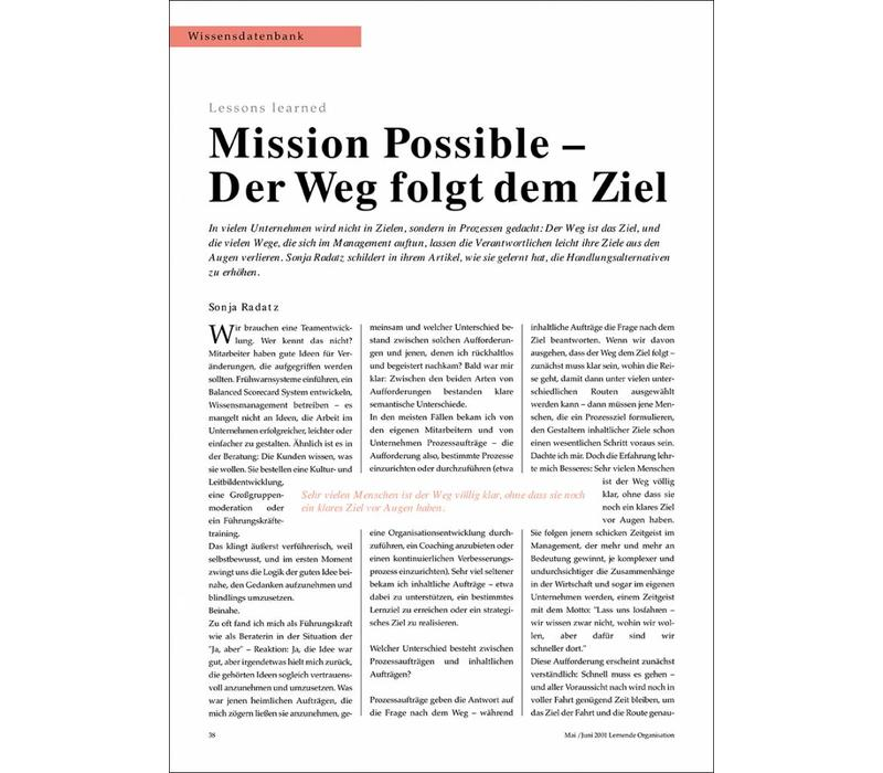 Mission Possible - Der Weg folgt dem Ziel