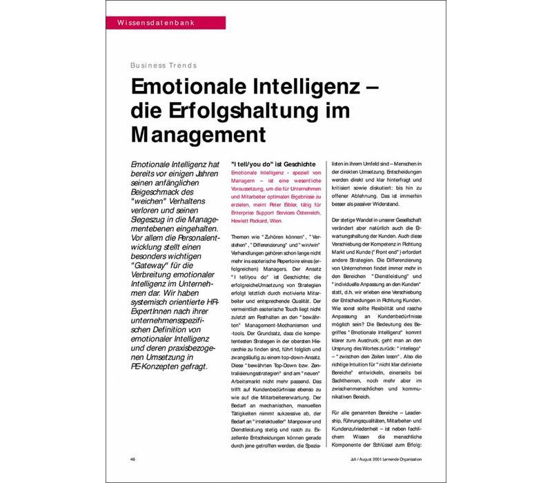 Emotionale Intelligenz – die Erfolgshaltung im Management