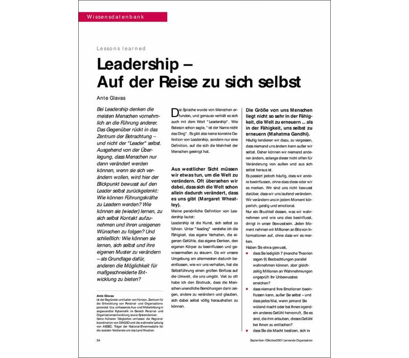 Leadership – Auf der Reise zu sich selbst